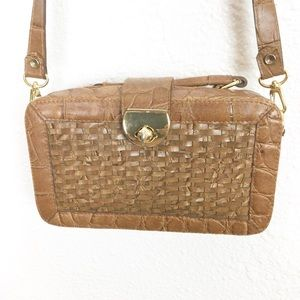 Woven Brown Crossbody Bag Organizer Purse